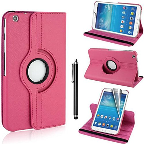 Samsung Galaxy Tab 3 8.0 Case - Hot Rosa PU Leder Schutz Hülle 360° drehbar Case für Samsung Galaxy Tab 3 8.0 Zoll SM-T310 Lederhülle Tasche Flip Cover Etui Grün Schutzhülle mit Schwenkbar flexiblem Ständer + Displayschutzfolien und Stylus