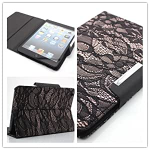 NineSeas High Quality Pretty Black Lace Design Folio Leather Case and Cover with Flip Stand & ID Card Slots for Apple iPad Mini 7.9 Inch Tablet for Girls Eco-friendly Package Color Varies
