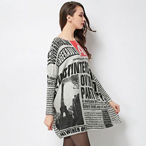 YOUJIA Femme Tricot Lâche Pull Col Rond Chauve-souris Sweaters Unique Gris Clair