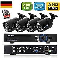 FLOUREON Videoüberwachung 8CH 1080N HDMI DVR Recoder mit 1TB Festplatte + 4 X 2000TVL 960P Überwachungskamera Outdoor Sicherheitskamera P2P IR-CUT Wasserdicht Bewegungsmelder
