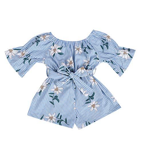LEXUPE Kleinkind-Baby-Kinder Weg von der Schulter-Blumendruckbogen-Spielanzug-Overall-Kleidung(Blau,110)
