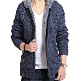 YKENSOT Herren Pullover Mantel Winter warm dicken Pullover Jacke für Männer Stricken Kapuzen-Sweatshirt 4 XXL