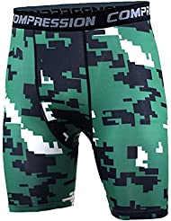 TOOGOO(R) New Running Sport Mens Basketball Tight Compression Shorts Gym Fitness Clothing Training Wicking Short Pants Homme Men(Green black and white point M)
