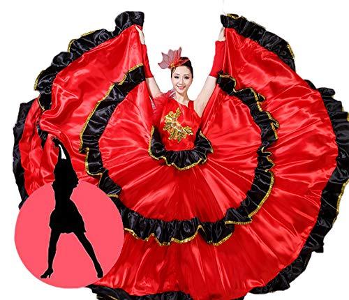 Kostüm Traditionelle Flamenco - Yuyudou Damen Spanische Flamenco Dancewear, 360/720 Grad Klassische Blumentanz Kostüm Rüschen Kleider,720°,L