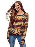 oodji Ultra Damen Pullover mit Breitem Ausschnitt und Ethno-Druck, Mehrfarbig, DE 34 / EU 36 / XS