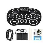 WSHA Tragbare Elektronik Drum Set Roll up Drum Kit 9 Silicon Pads USB-Antrieb mit Fußpedalen Drumsticks USB-Kabel Großen Urlaub Geburtstagsgeschenk Für Kinder,Black
