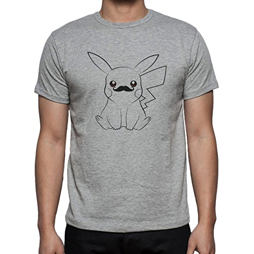 Pokemon Black White Pikachu Electro Mustache Herren T-Shirt Grau