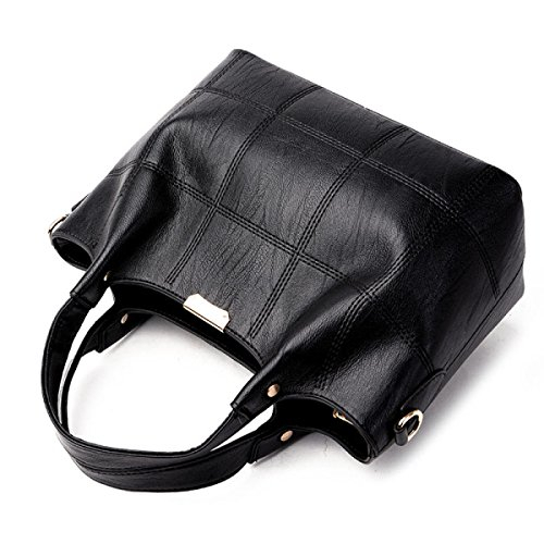 ZPFME Handtaschen Der Frauen Schulterbeutel Kurierbeutel Mädchen Partei Retro Damen Art Und Weise Handtasche Karierte Beiläufige Tasche Black