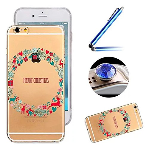 Etsue Custodia Per iPhone 5C,Creativo Disegni Super Chiaro Marmo Modello Tpu in Silicone Protettiva Case Cover Bumper Morbida Flessible Gomma Gel Cover Ultra Sottile Antigraffio Soft Gel Durable Case  corona di Natale