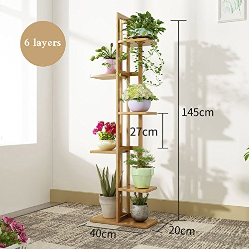 Blumenständer Blumenregal Bambus Multilayer Indoor Balkon Wohnzimmer Pflanzenständer Display Regal Bodenstehende Sukkulenten Halten Dinge Blumentopf Rack Pflanzenständer (größe : 6 Tier)
