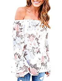 LILICAT Mode Frauen Aus Schulter Langarmshirt Coton Shirt Blumen gedruckt Casual  Bluse Damen Oberteile One- c829b588f6