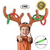Gonfiabile Renna Antler Ring Toss Gioco Natale Party Toss Game per la famiglia Kids Office Xmas Fun Games (2 Antlers 8 Rings) by Proacc immagine