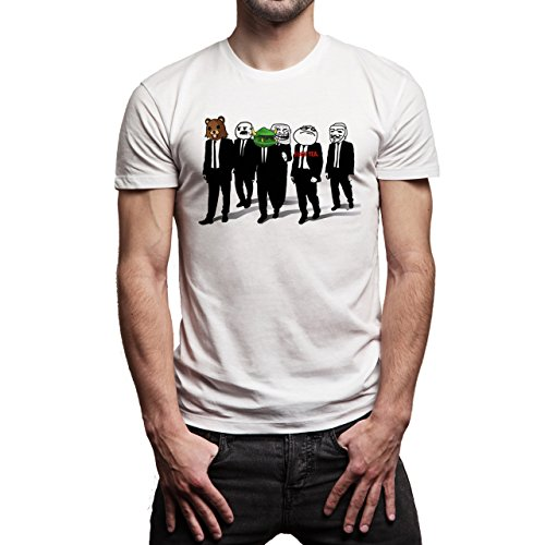Reservoir Dogs Movie Quentin Tarantino Meme Faces Fck Yea Bear Smiling Walking Team Suits Background Herren T-Shirt Weiß