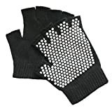 Sunland Yoga Pilates Gloves Non-Slip Grip with Silicone Fingerless One Pack for Traing and Workouts Black and Gray