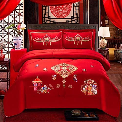 Littlefairy daunendecke,Baumwollstickerei gefüllt mit Ganzen Feder SAMT Hochzeit Winter durch große rote Hochzeit Doppelbett warmen Kern