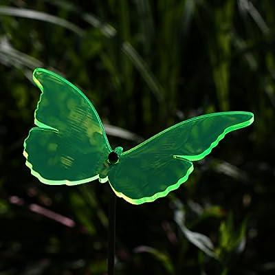 Acrylglas Sonnenfänger Schmetterling 14cm neon transparent fluoreszierend geschwungen mit 60cm Stab - Farbauswahl - Suncatcher von Bütic GmbH - Du und dein Garten