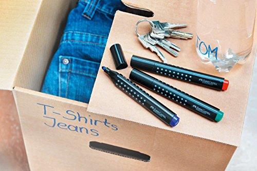 Faber-Castell Grip – Set de 4 rotuladores permanentes (punta redonda)