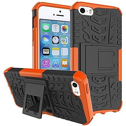 iphone SE Custodia, GIM Arancione Hybride Soft Cover Case in Silicone TPU Posteriore mit Duro PC Shock-Absorption Custodia Protettiva per Apple iphone 5 5S SE Smartphone con Supporto