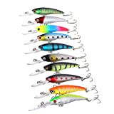 #10: Magideal 10pcs Fishing Lure Baits Hard Minnow Swimbait Treble Hooks Tackle 9cm