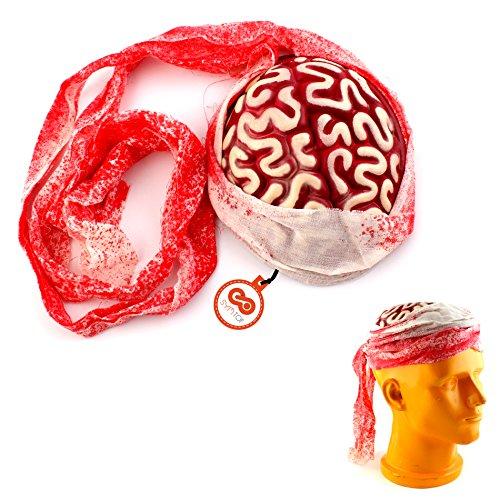 Zombie Verband Kostüm - SYMTOP Scary Halloween Zombie-Gehirn-Hut-Kappe Kopfbedeckung mit blutigem Verband Zubehör Kostüme Partei Props