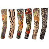 squarex 6pcs Nylon Elastic Temporäre Tattoo Sleeve Designs Körper Arm Strümpfe Tatoo Cool, Damen, 6Pcs Multicolor, As Show