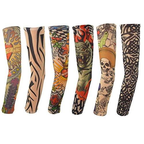 squarex 6 Stück Nylon Elastische temporäre Tattoo-Ärmel Designs Body Arm Strümpfe Tatoo Cool, Damen, 6Pcs Multicolor, AS Show