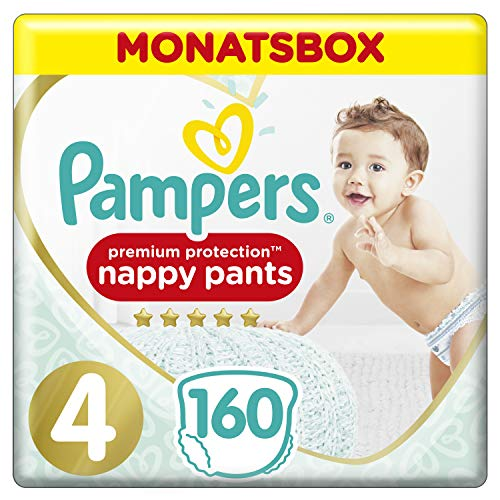 Pampers Premium Protection Pants, Gr. 4, 9-15kg, Monatsbox, 1er Pack (1 x 160 Stück)