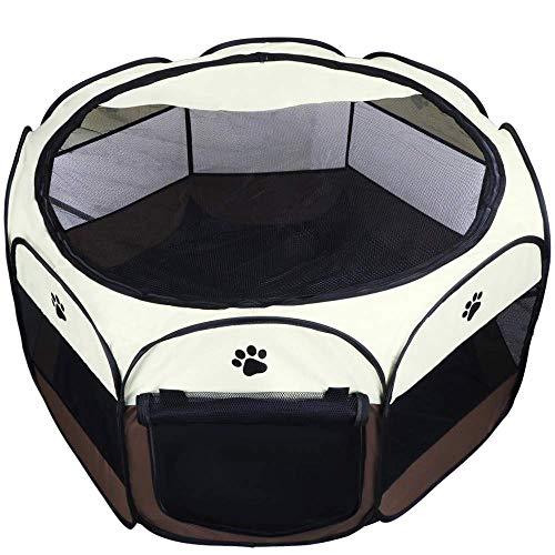 Coolty Faltbar Haustier Zelt, Tragbarer Welpenlaufstall Tierlaufstall für Hunde Katzen Kleintiere(Braun,L) -