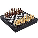 Yoyo Jeu d'échecs Table en Cuir Jeux d'échecs Chinois Jeu d'échecs en Bois Massif Jeu d'échecs de Noël avec Cadeaux d'anniversaire de Prime Échiquier