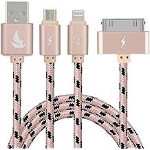 EliteSoft Alta velocidad 4.9ft múltiple 3 en 1 USB cable de carga con iluminación 8 Pin / 30 Pin / Conector micro USB para el iPhone 7, 6, 5, 4,3, 4,3,2 iPad, Aire, el iPod, el Galaxy S3 / S4 / S5 / S6 / S7 Edge, LG, HTC-Oro
