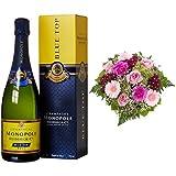 Monopole Heidsieck Blue Top Brut Champagner + Blumenstrauß Herzklopfen