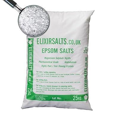 Elixir Gardens ® EPSOM BATH SALT 25KG/100% MEDICAL/FCC FOOD GRADE MAGNESIUM SULPHATE HEPTAHYDRATE by Elixir