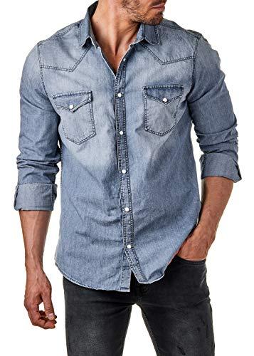 EightyFive Herren Jeanshemd Denim Shirt Destroyed Perlmutt Slim Fit Blau EFS2000, Größe:L, Farbe:Blau