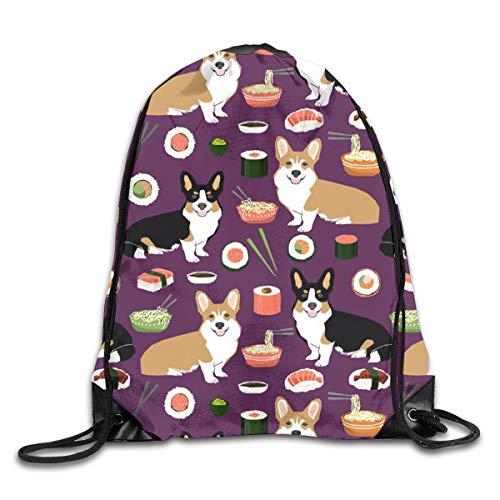 Drawstring Backpack Bags Corgis Sushi Noodles Cute Food Noodle Pot Sushi Corgis Tri Colored Corgi Sport Athletic Gym Sackpack for Men Women