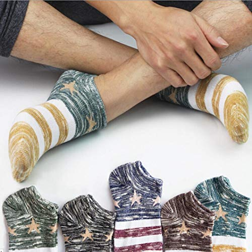 MCYs Men's Star Stripe Thick Line Invisible Socks Men's Cotton Warm Socks Crew Ankle Low Cut Casual Business Classic Cotton Socks