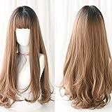 Fa Perruque- Perruque Femme Cheveux Longs Bangs Naturel Fluffy Cheveux Longs Mode Mignon Visage Rond Perruque Longue Cheveux (Couleur : Honey Pudding Color)