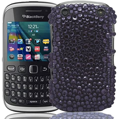 Blackberry Curve 9320Gadget Giant magia negra diamante perlas Rhinestone Bling Case Cover & LCD Protector de pantalla