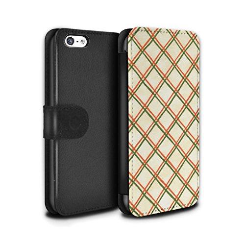 Stuff4 Coque/Etui/Housse Cuir PU Case/Cover pour Apple iPhone 5C / Jaune/Noir Design / Motif Entrecroisé Collection Rouge/Vert