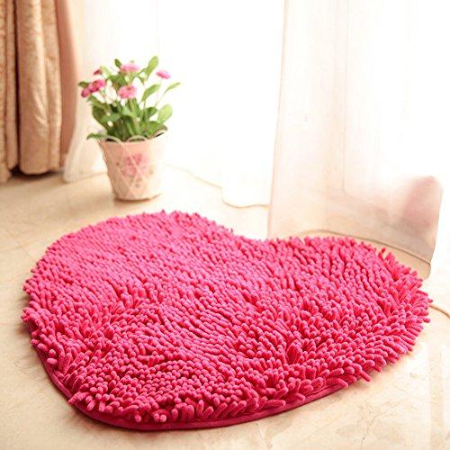 Private home textiles Dekorative teppiche Chenille carprt Ehe Zimmer Herz-Geformte tür matten Nicht-Slip Water Absorption Foot pad -E (20x24inch) 50x60cm
