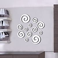Topker 12pcs Círculos etiqueta de la pared de las etiquetas engomadas del estilo del espejo etiqueta engomada mural de la pared del arte del vinilo