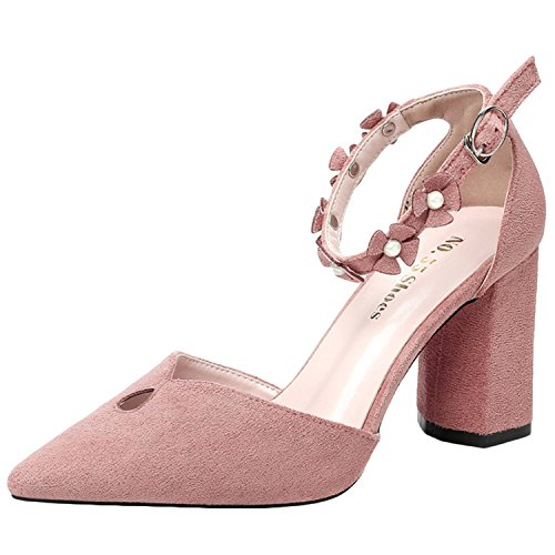 Oasap Women's Ankle Strap Chunky Heels Pointed Toe Floral Sandals Pink