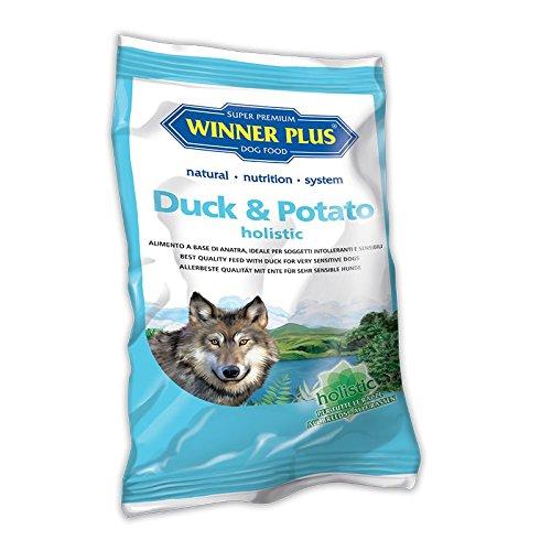 WINNER PLUS Duck & Potato holistic 150 g - Alimento completo senza glutine e grano, facilmente digeribile, per cani sensibili o con allergie