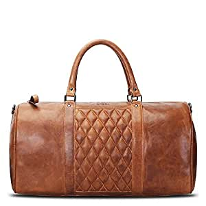 BRUNE Tan Color 100% Genuine Leather Duffel Bag For Men/Hand Made And Hand Painted Duffle Bag/Best Leather Duffle Bag For Gym/Branded Traveling Duffle Bags/Designer Leather Duffle Bags /Stylish Leather Weekender Bag/Latest Duffle Bag/Discounted Duffle Bag/Finely Detailed Luggage/Ample space/Quick Delivery