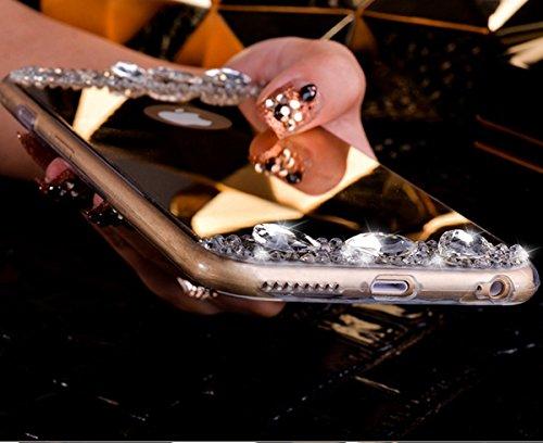 Cover iPhone 6S 4.7 Custodia iPhone 6,Ukayfe Lusso Specchio Custodia per iPhone 6/6S 4.7 UltraSlim Copertura Case Protettiva con Bling Strass Diamante Design,Moda Serie Completa Screen-Protector,Skin  Strass Oro di Champagne