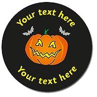 35 Personalised Pumpkin Halloween Spooky Childrens Pupils Motivational School Praise Teachers Reward Stickers 37mm Primary Teaching Services (Black)