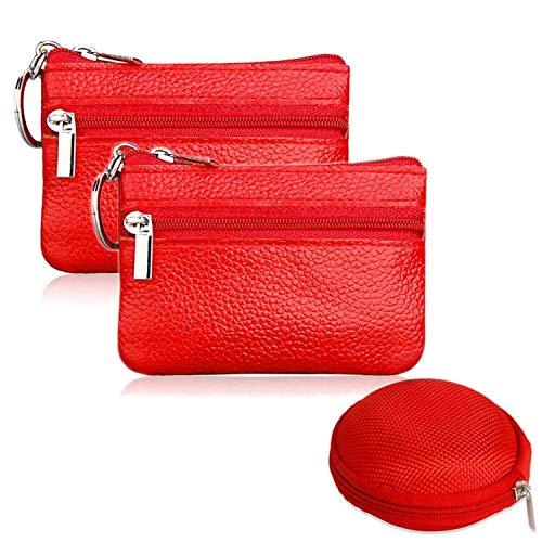 2 Stück Mini Münzbörse Geldbörse Geldbörse Geldbörse Etui Leder Reißverschluss mit Schlüsselring und 1 Kopfhörermünztasche rot 2 Headset Pack