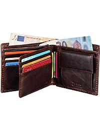 Jenuos Portafoglio Uomo, Portafogli Vintage in Vera Pelle con Blocca RFID, Porta Monete Confezione Regalo
