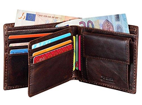 Portafogli Uomo, Jenuos Portafogli Vintage in Vera Pelle con Blocca RFID, Porta Monete Confezione Regalo - Marrone Scuro (QB-LQ-DB)