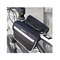 YNuo Bicycle Bag, Mountain Bike Front Beam Bag Accessories Waterproof Bicycle Front Bag Beam Front Mobile Phone Bag, Large Capacity/Black/Blue/Red Bicycle exterior accessories.
