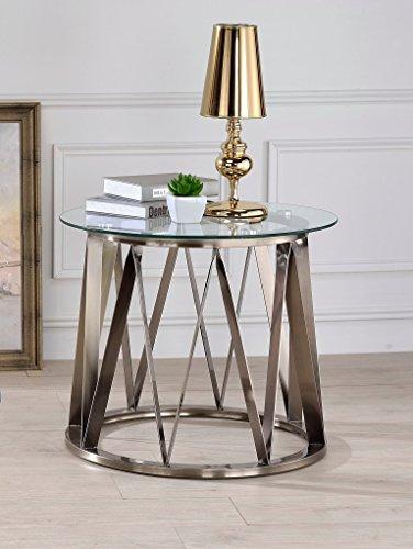 Major-Q p9084487gl 55,9cm H Casual Moderner Stil 8mm Klar Gehärtetem Glas Top Messing Antik Metall Boden Wohnzimmer Beistelltisch